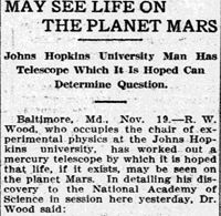 Article on Johns Hopkins telescope from Grand Forks Herald, published as Grand Forks Daily Herald, November 20, 1908