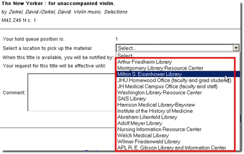 JHU Libraries Catalog Delivery Locations