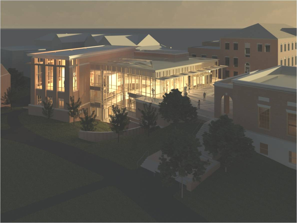 Aerial view of the Brody Learning Commons, scheduled for completion in July 2012.