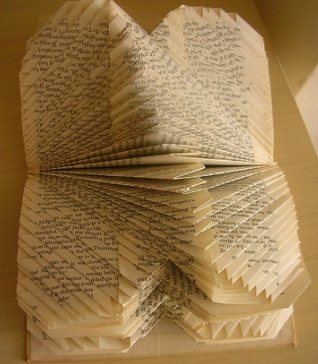 """Photo of folded book into """"art"""""""