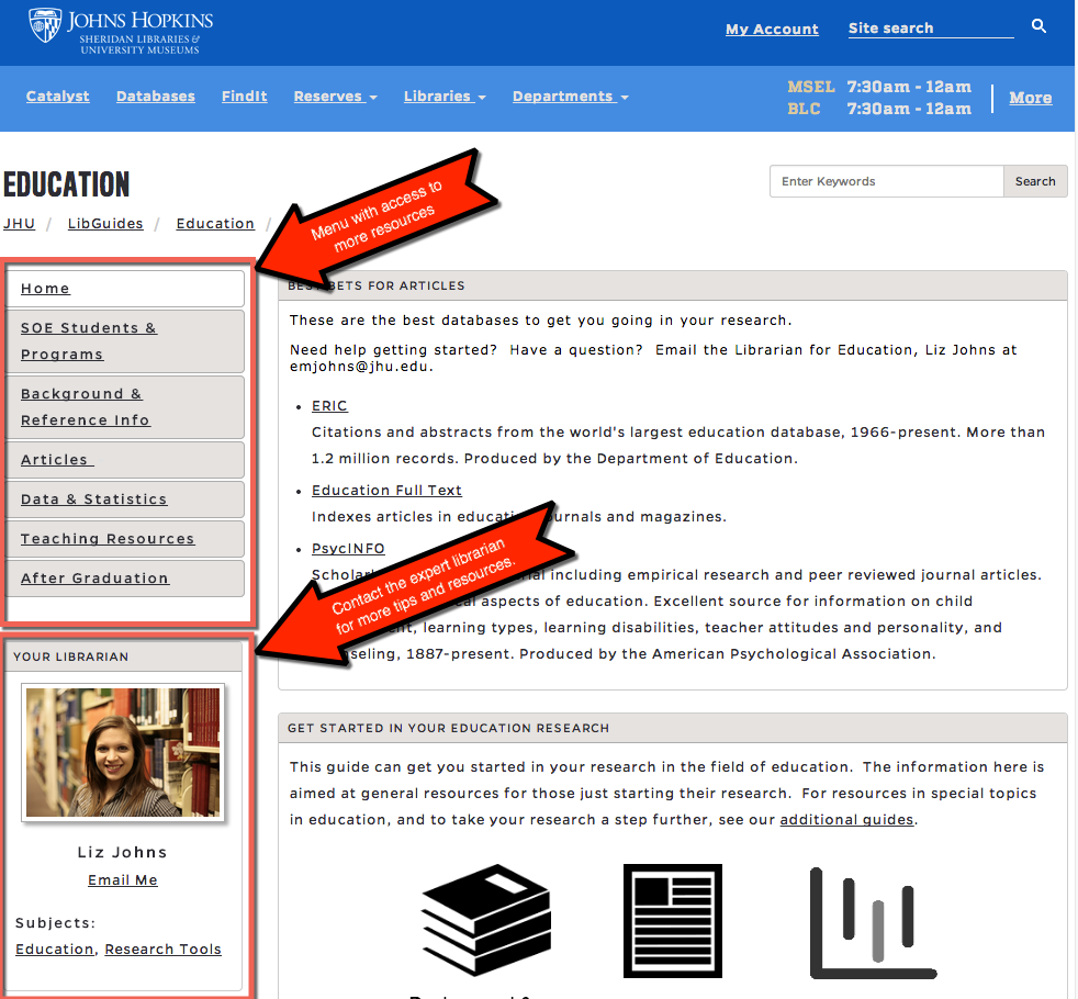 The new layout features a left side menu, and a quick way to email an expert librarian.