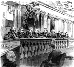 Print image of 9 Supreme Court Justices presiding over the court.