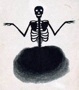 Image of a sketched skeleton by James Gregory, 1864.